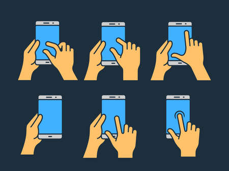 zoom: Touch screen gestures icon for smartphone. icon for a mobile app user interface or manual. Smartphone gesture icon in four different styles Illustration