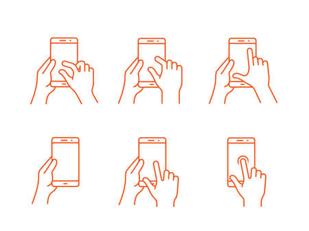 touch: Touch screen gestures icon for smartphone. icon for a mobile app user interface or manual. Smartphone gesture icon in four different styles Illustration