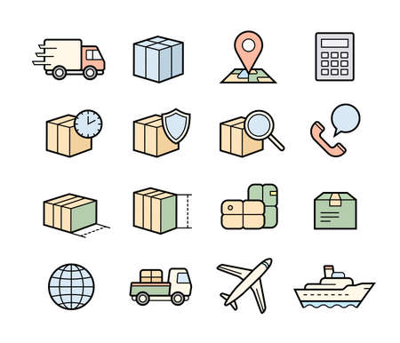 calc: Parcel delivery icons. Fast delivery and quality service transportation. Shipping icons for logistic company.