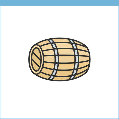 oak wood: Wood wine cask icon. Linear style