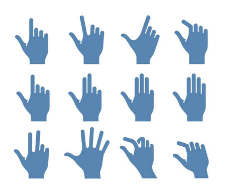 flick: Gesture icons for touch devices. icon set for a mobile app user interface or manual