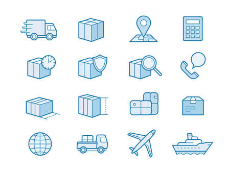 ship order: Parcel delivery service icon set. Fast delivery and quality service transportation. Shipping icons for logistic company.