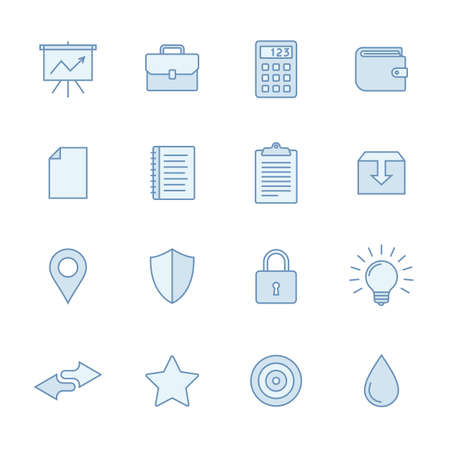 thin bulb: Universal line icons set in light blue colors. Simple outlined icons. Linear style