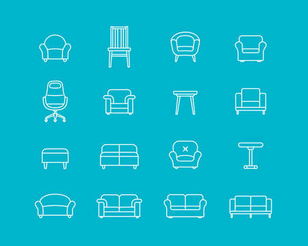 wood chair: Collection of furniture icons. Icons for website of furniture retailer. Linear style