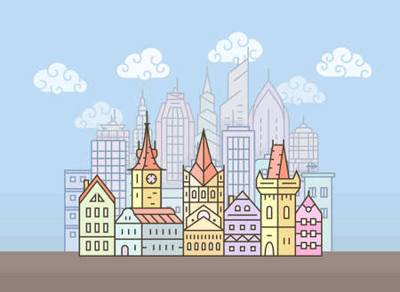 clouds scape: Old european town. City skyline. Town buildings illustration Illustration