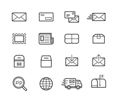 Mail en postdiensten icon set. Snelle levering voor fysiek transport van documenten en kleine pakketten. Verzending vector iconen voor logistiek bedrijf.