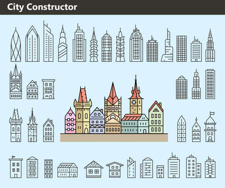 constructor: Cityscape constructor. Collection of building icons made in liner style. Vector illustration