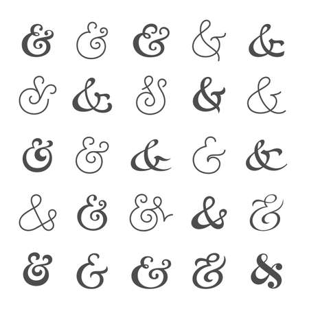 orthographic symbol: Big collection of custom handwritten ampersands. Polished hand drawn symbols  for wedding invitation. Vector illustration Illustration