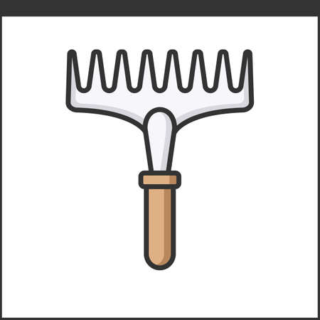 gardening hose: Garden rake icon. Vector illustration of hand tool for gardeners