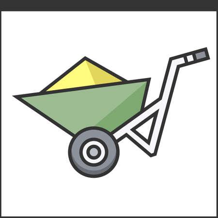 hand tool: Garden wheelbarrow icon. Vector illustration of hand tool for gardeners