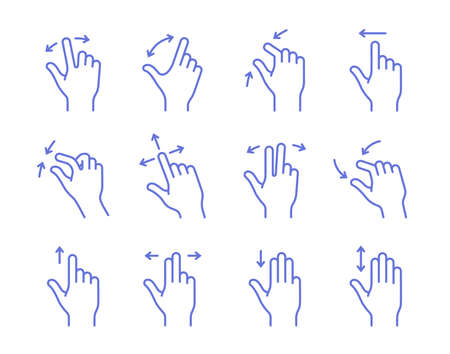 nudge: Gesture touch icons. Clean and simple vector icons for an app user interface or manual. Linear style