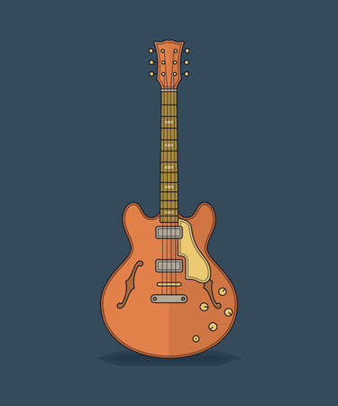 fingerboard: Guitar icon. Flat vector illustration of guitar. Illustration