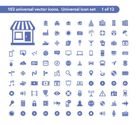 travel icon: 102 universal vector icons. The icon set includes City and Buildings, Computer Devices, Media and Music, Travel and Tourism icons