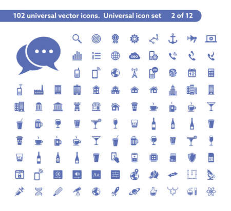 calc: 102 universal vector icons. The icon set includes Web and SEO, Mobile and Wireless, Drinks icons, Media and Music, Laboratory and Science icons Illustration
