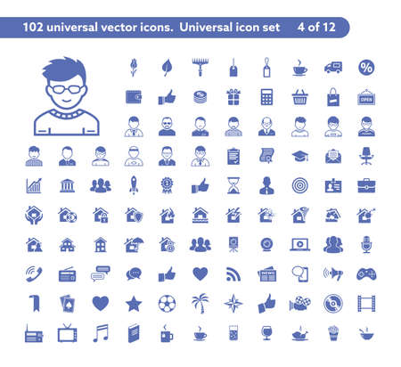 sale icons: 102 universal vector icons. The icon set includes Shop and Sale, User and Avatar, Property insurance, Social and Media symbols Illustration