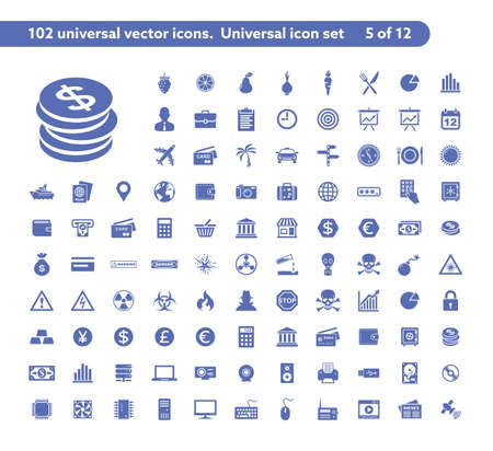 102 universal vector icons. The icon set includes Money and Payment, Danger and Warning, Computer Hardware symbols Illustration