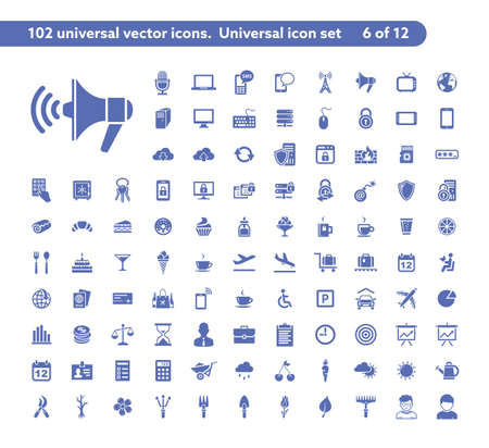 102 universal vector icons. The icon set includes Communication, Computer Security, Travel, Dessrt and Cafe, Gardening symbols