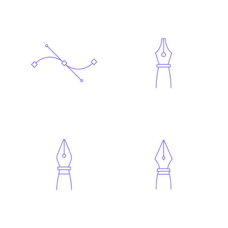 Pen and bezier curve tools icon. Vector graphics designer tool. Simple outlined vector icon in linear style