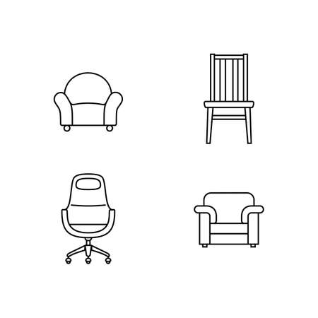 pouffe: Collection of furniture icons. Icons for website of furniture retailer. Linear style