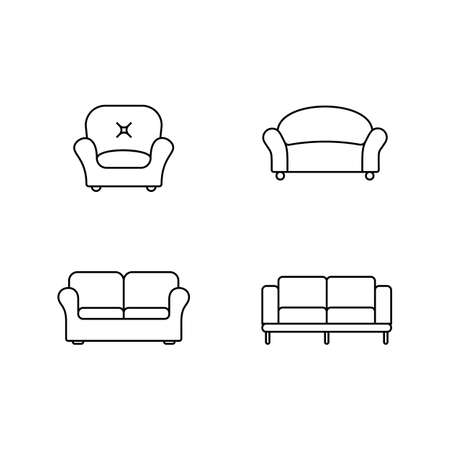 retailer: Collection of furniture icons. Icons for website of furniture retailer. Linear style