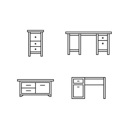 coffee table: Collection of furniture icons. Icons for website of furniture retailer. Linear style