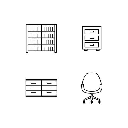 davenport: Collection of furniture icons. Icons for website of furniture retailer. Linear style