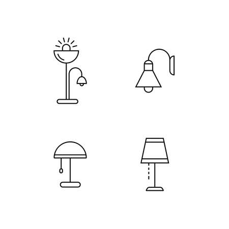 retailer: Collection of furniture icons. Lamps and lighting devices. Icons for website of furniture retailer. Linear style. Illustration
