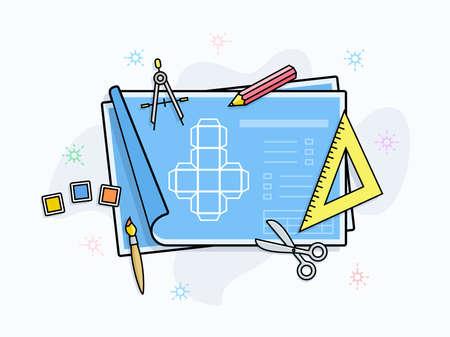 prototipo: Creación de una ilustración vectorial prototipo del producto. Herramientas de dibujo y pintura en el papel con esquema de prototipo