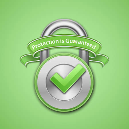 implemented: Vector illustration of metallic padlock with check mark and label. Protection guaranteed sign Illustration