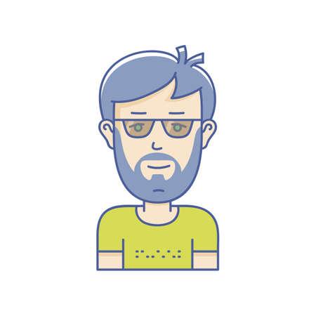 Man face expression avatar icon. Vector linear boy avatars Illustration