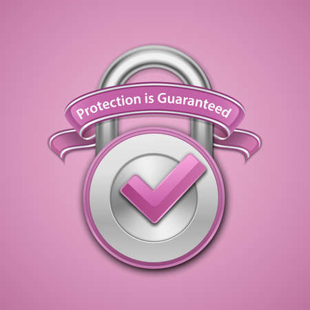 Vector illustration of metallic padlock with check mark and label. Protection guaranteed sign Illustration