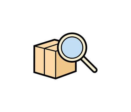 expeditions: Find parcel delivery icon. Vector illustration of parcel box Illustration