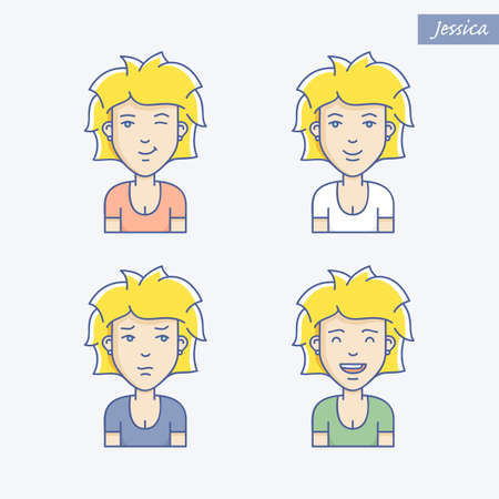 beauty smile: Set of different woman face expressions. Vector linear girl avatars