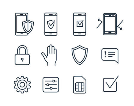 mobile app: Mobile security icons. Vector icons mobile security app