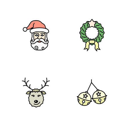 hollyberry: Christmas icon set. Simple outlined icons. Linear style Illustration