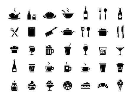 레스토랑, 부엌 및 요리 아이콘입니다. 음식과 음료 벡터 아이콘