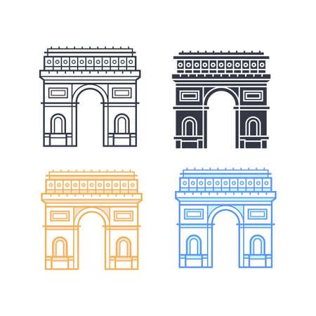 The Arc de Triomphe icons. Triumphal arch in four different styles. Symbol of Paris. Vector illustration Illustration