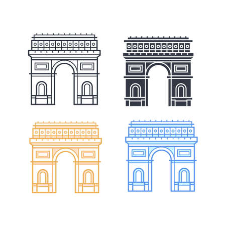 stone arch: The Arc de Triomphe icons. Triumphal arch in four different styles. Symbol of Paris. Vector illustration Illustration