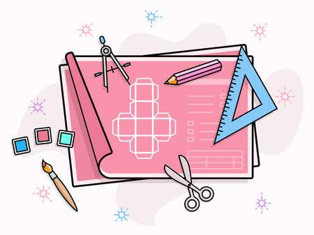 prototipo: prototipo de producto ilustración vectorial. Herramientas de dibujo y pintura en el papel con esquema de prototipo Vectores