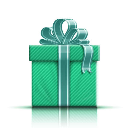 Green gift box with ribbon and bow. Vector illustration Standard-Bild