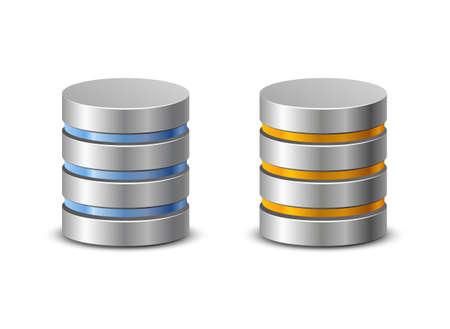backup: Database icons. Network backup icons. Vector illustration of hard disk symbols
