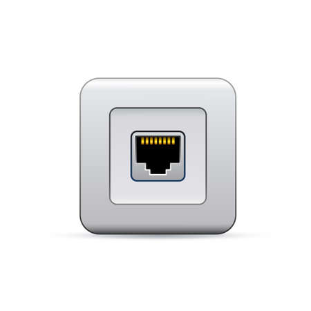 network port: Network ethernet port. Symbol of network access.