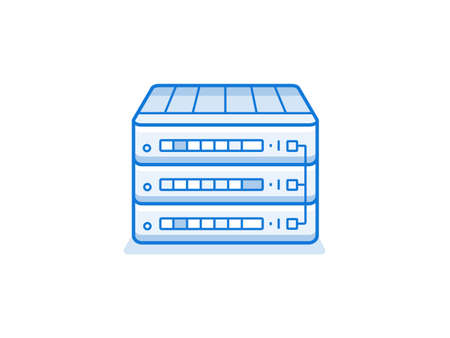 service provider: Network router icon. Internet service provider equipment. Data network hardware series vector illustration