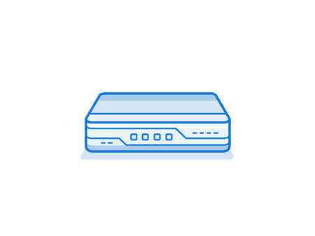 service provider: Soho network router icon. Networ equipment for small busines. Data network hardware series vector illustration