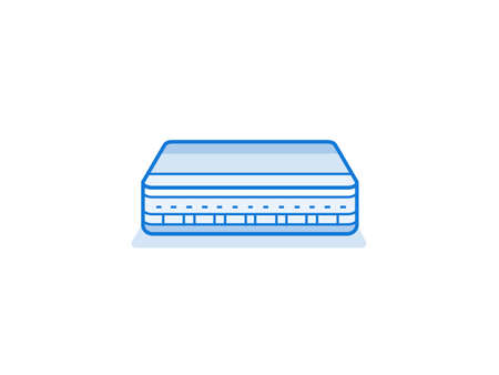 network router: Network router icon. Internet service provider equipment. Data network hardware series vector illustration
