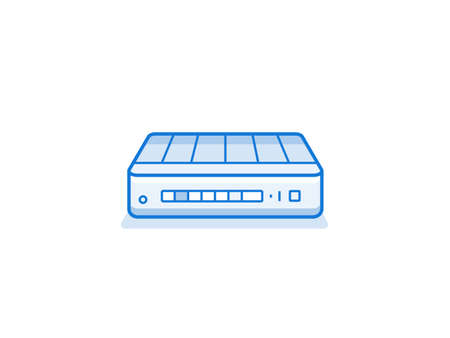 network router: Home network router icon. Network equipment for home. Data network hardware series vector illustration Illustration