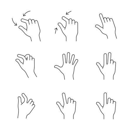 Gebaar pictogrammen voor smartphones. Eenvoudige geschetst vector icon set voor een mobiele app gebruikersinterface of handleiding. lineaire stijl Stock Illustratie