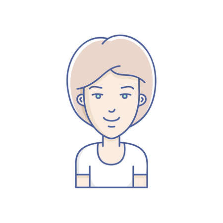 people in line: Woman face expression avatar icon. Vector linear girl avatars
