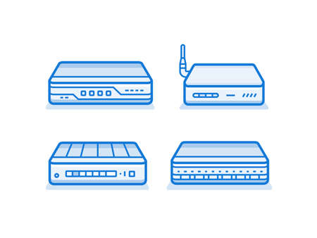 network router: Network router icon set. Network equipment for small busines. Data network hardware series vector illustration