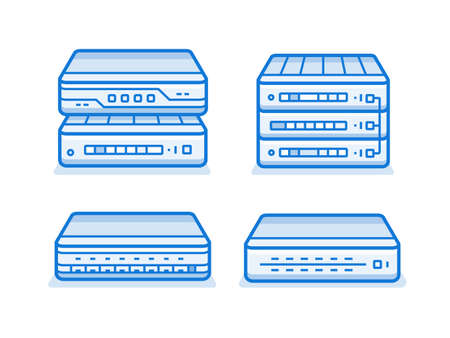 service provider: Network devices icon set. Internet service provider equipment. Data network hardware series vector illustration Illustration